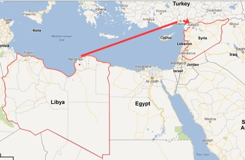 Libya-to-Turkey-map