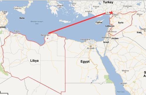 Libya-to-Turkey-map